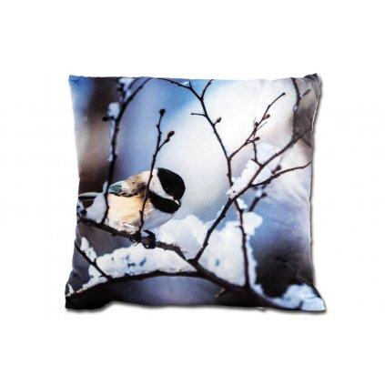 Vankúš s výplňou, zimný design vtáčik 45x45cm
