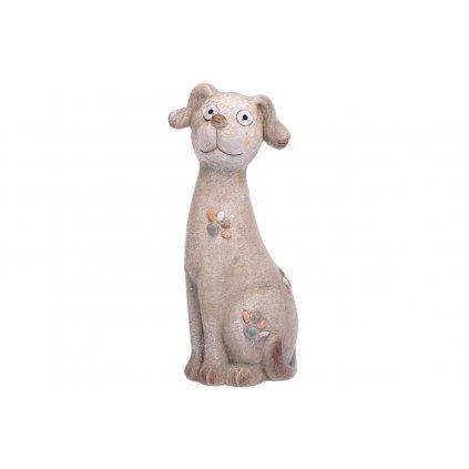 Pes s LED svetlom MGO keramika (batérie na solárne dobíjanie)18x44x17cm