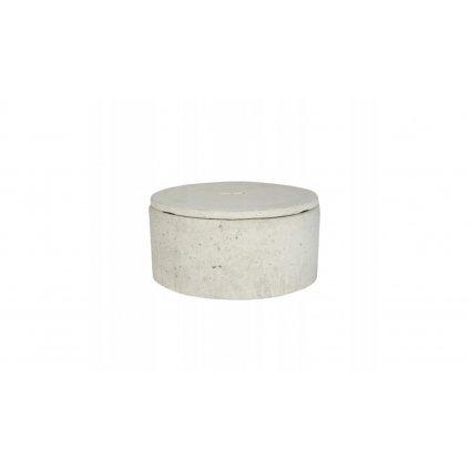 Dekoratívna okrúhla nádoba- biely betón
