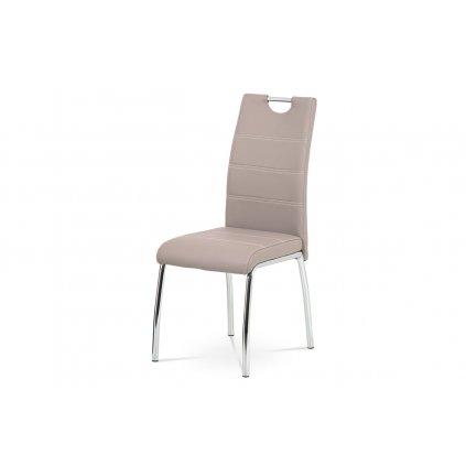 Jedálenská stolička, poťah lanýžová ekokoža, biele prešitie, kovová štvornohá chrómovaná podnož