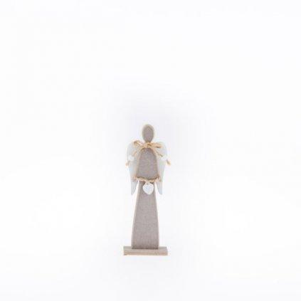 anjel drevený šedo hnedý 6×17×3cm