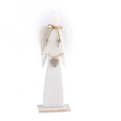anjel drevený so srdiečkom biely 11,6×35×6cm