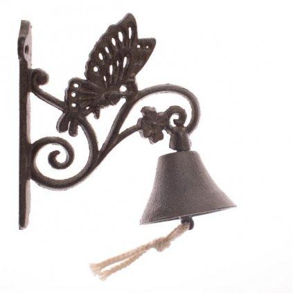 Liatinový zvonček s motýľom hnedý 17×18×8cm