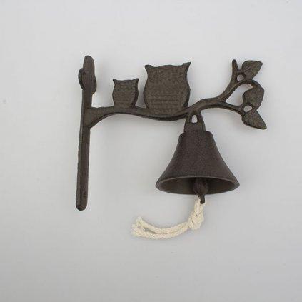 Liatinový zvonček so sovičkami hnedý 17×18,5×8,5 cm