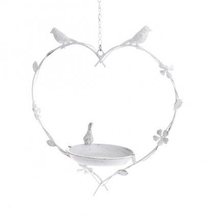 napájadlo kovové na zavesenie biele s vtáčikmi 33×63×16,6cm