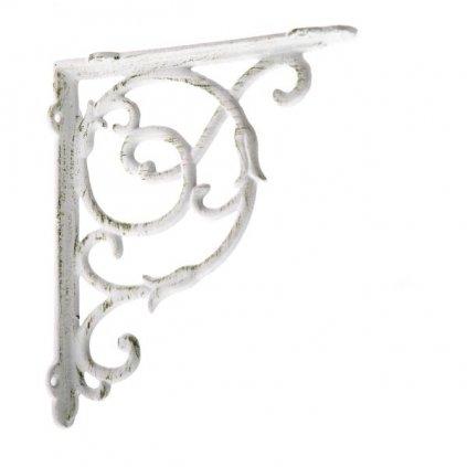 konzola liatinová s háčikom biela 22,5×18,5×4cm