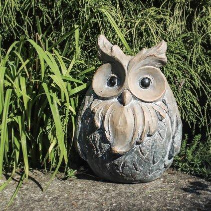 sova záhradná dekorácia šedo hnedá  26x23x34cm X3254
