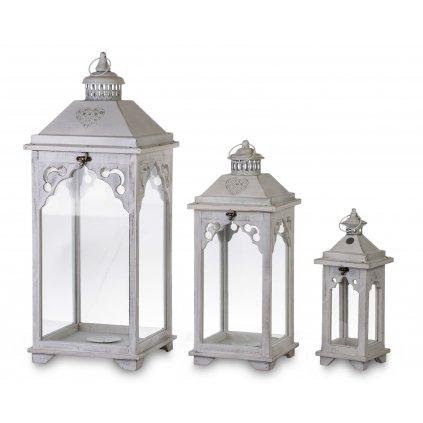 lampáše drevené biele cena za sadu 3ks