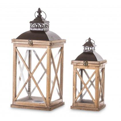 lampáš drevený hnedý cena za 2ks 62x25x25, 45x17x17cm