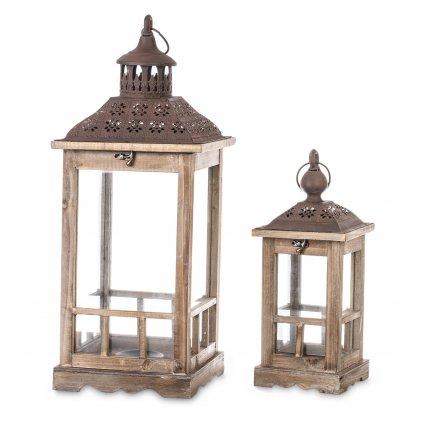 lampáš drevený hnedý cena za 2ks 60x23x23, 40x15x15cm