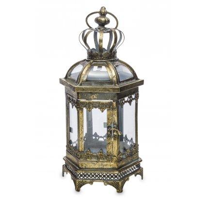 lampáš kovový retro zlato čierny 40x16x14cm