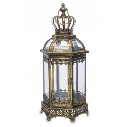lampáš kovový retro zlato čierny 64x25x22cm