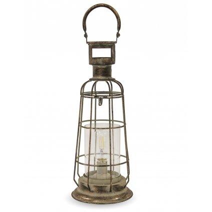 lampáš kovový retro zlato čierny led svietidlo 54x13x13cm