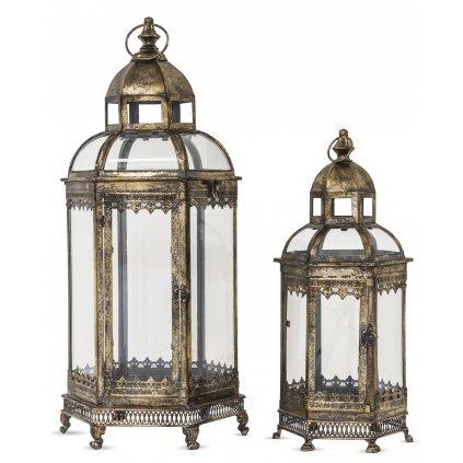 lampáš kovový retro zlato čierny cena za sadu 2ks veľký 69x30x30cm malý 50x20x20cm
