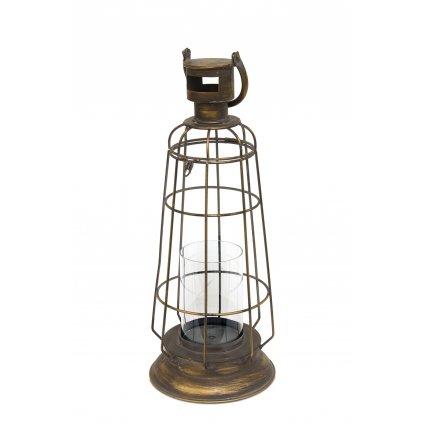 lampáš kovový retro zlato čierny 61x20,5x20,5cm
