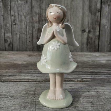 Anjel keramický zeleno biely 12,5x6,5cm