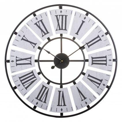 Hodiny Industrial sivé kovové rímske číslice 60x60x4,5cm