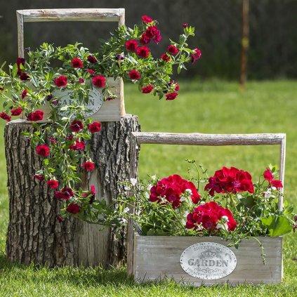 drevený Obal na kvety Garden s plastom cena za 3ks D2177