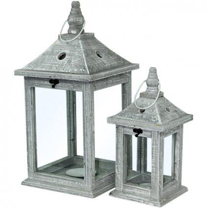 lampáš drevený šedá patina  cena za 2ks 45x22x22cm, 30x15x15cm