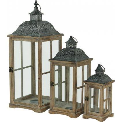 lampáš drevený hnedý cena za 3ks