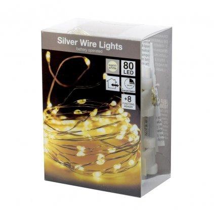vianočné LED Svetielka strieborný drôtik tepla biela 80Led WW na baterky vonkajšie IP44 s časovacom