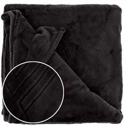 Hebká deka s geometrickým vzorom Auke čierná 150x200cm
