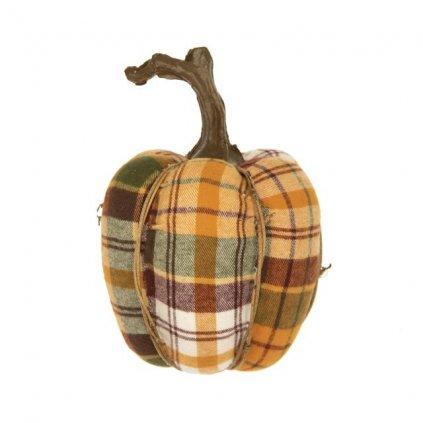 jesenná dekorácia tekvička karovaná textil 14,5x20,5 cm