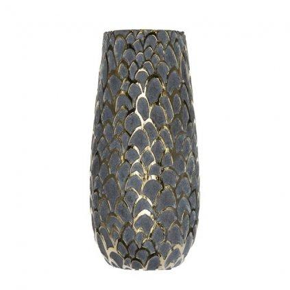 Váza so šupinatým vzorom keramika šedá, zlatá 13,5x13,5x28,5cm