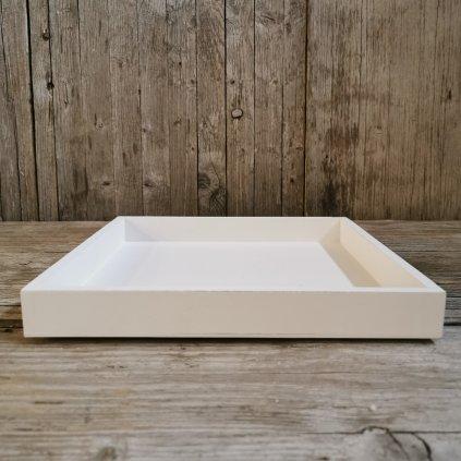 Tácka drevená biela štvorec 25x25x3cm