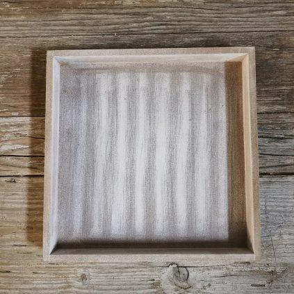 Tácka drevená šedá biela patina, štvorec 25x25x3cm