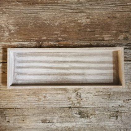 Tácka drevená šedá biela patina, obdĺžnik  40x14x3cm