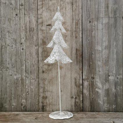 Vianočný strom strieborný kovový 85x22,5cm