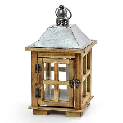 Lampáš drevený hnedý, strieška plech17x17x18.7x32.2cm