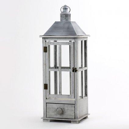 Lampáš drevený šedá patina so zásuvkou, strieška plech