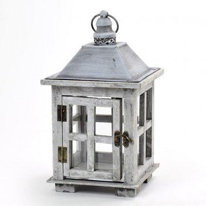 Lampáš drevený šedá patina, strieška plech 17x17x18.7x32.2cm