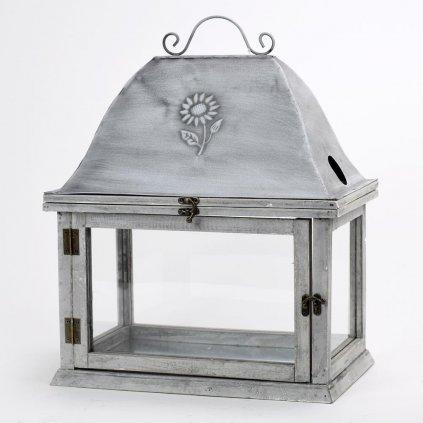 Lampáš drevený šedá patina, strieška plech s kvetom 38x24x25.5x49cm