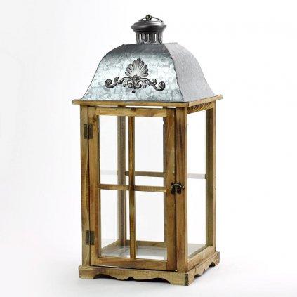 lampáš drevený hnedý strieška plech s ornamentom 28x28x63.5cm