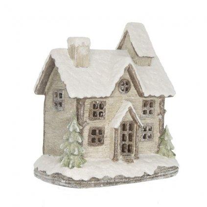 Domček zasnežený zimný s trblietkami LED, polyresin 21,5x15,5x22,5 cm
