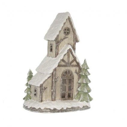 Domček zasnežený zimný s trblietkami LED, polyresin 22x14x31cm