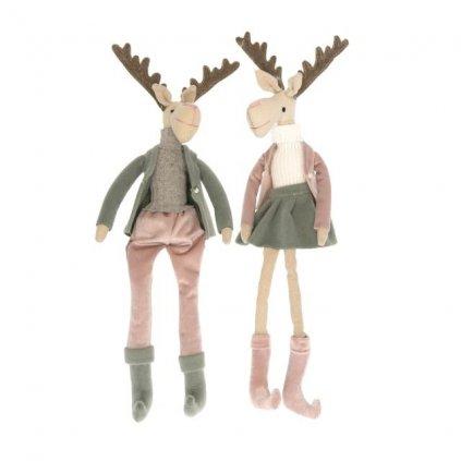 Vianočný jelenček dievča/chlapec ružovo-zelený 42 cm textilný cena za 1 ks