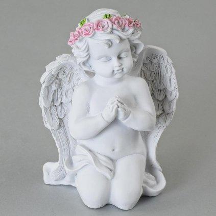 ANJEL modliaci s ružovým venčekom polyresin biely 16cm