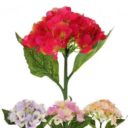HORTENZIA umelý kvet /ČERV,RUŽ,FIAL/ 32CM