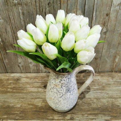tulipán zeleno biely gumený jemne bielený 43cm cena za 1ks
