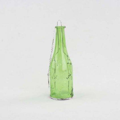 Závesný sklenený svietnik fľaša zelená 8×24×8cm