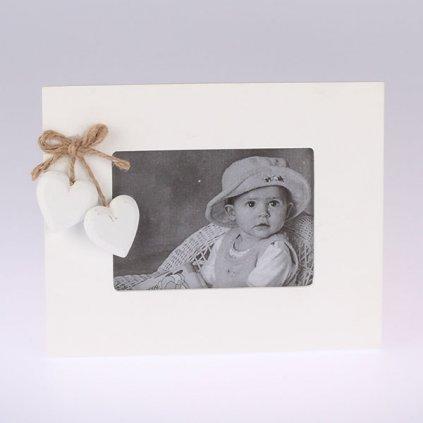 Fotorámik biely drevený srdiečko 20×16×1(photo13 × 9)cm