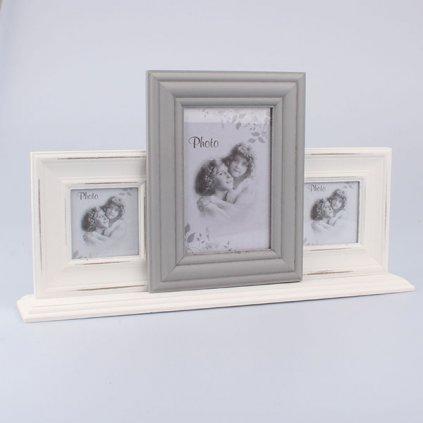 Fotorámik na tri fotky bielo šedý 40×22,5 6,5cm
