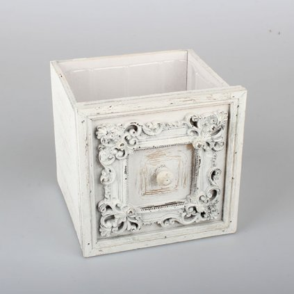 šuplík drevený obal na kvety vintage biely 18,5×18,5×18cm