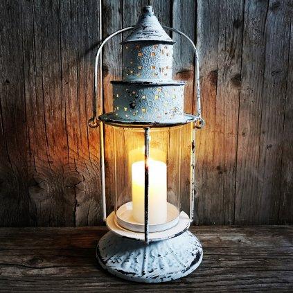 Kovový lampáš biely 16×35×16cm