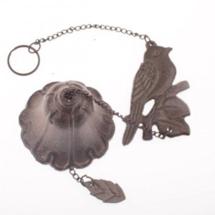 Liatinový zvonček - vtáčik na zavesenie 11×35,5×7cm