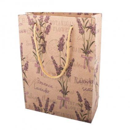 Papierová taška levanduľa prírodná 15×20×6cm CENA ZA 1 KUS